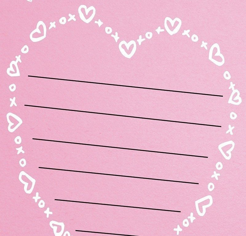 Free heart shaped valentines day lined paper template maxwellsz
