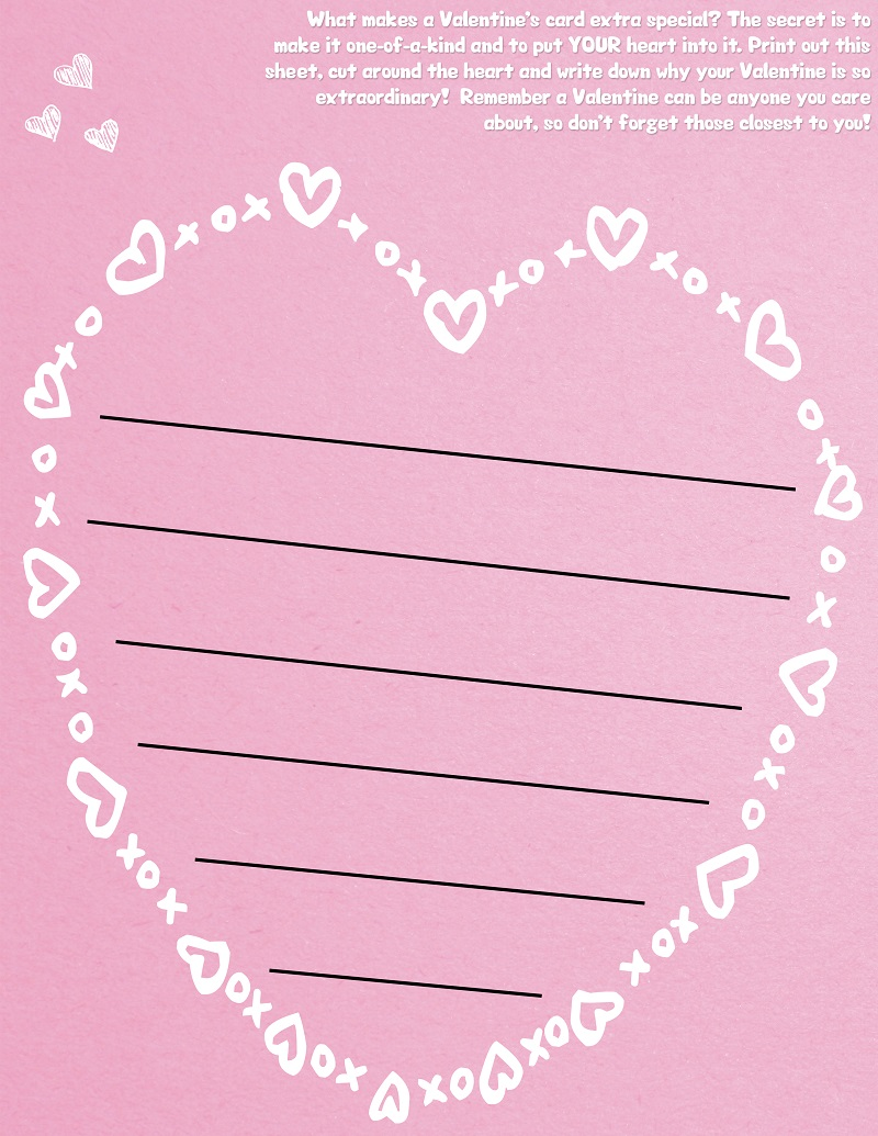 Free heart shaped valentine 39 s day lined paper template for Heart shaped writing template