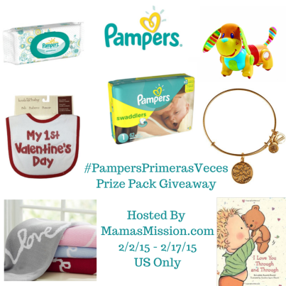 "Love at First Sight   My First Valentine's Day Bib     Pottery Barn Stroller Blanket     Alex and Ani ""Mom"" bracelet     Tiny Love Follow Me Fred Toy     I Love You Through & Through Board Book     Pack of Pampers Swaddlers     Pack of Pampers Wipes"