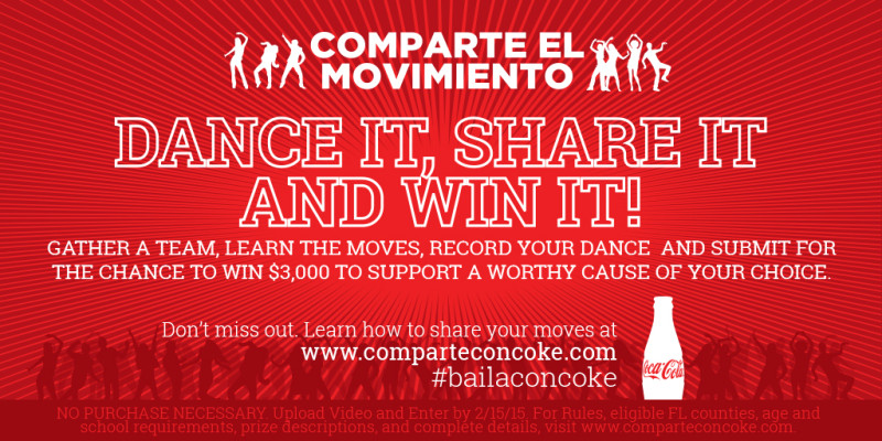 dance contest sweepstakes coca cola comparte el movimiento