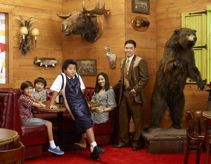 "ABC's ""Fresh Off the Boat"" stars Forrest Wheeler as Emery, Ian Chen as Evan, Hudson Yang as Eddie, Constance Wu as Jessica and Randall Park as Louis. (ABC/Bob D'Amico)"