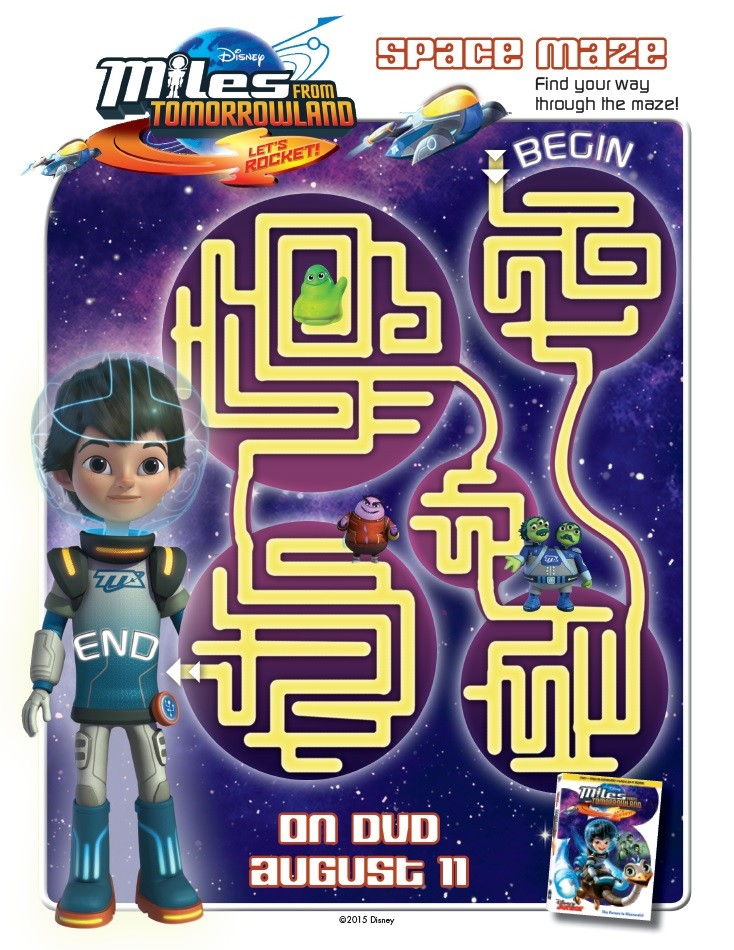 Miles From Tomorrowland activity and coloring pages will keep your child entertained any day. Join Disney Junior's Miles through Tomorrowland adventures! Space Maze