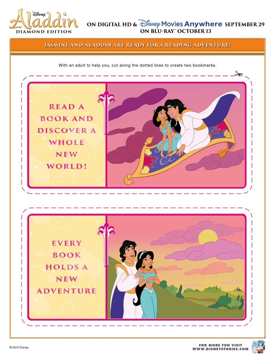 Free Printable Aladdin Activity Sheets Aladdin Bookmarks