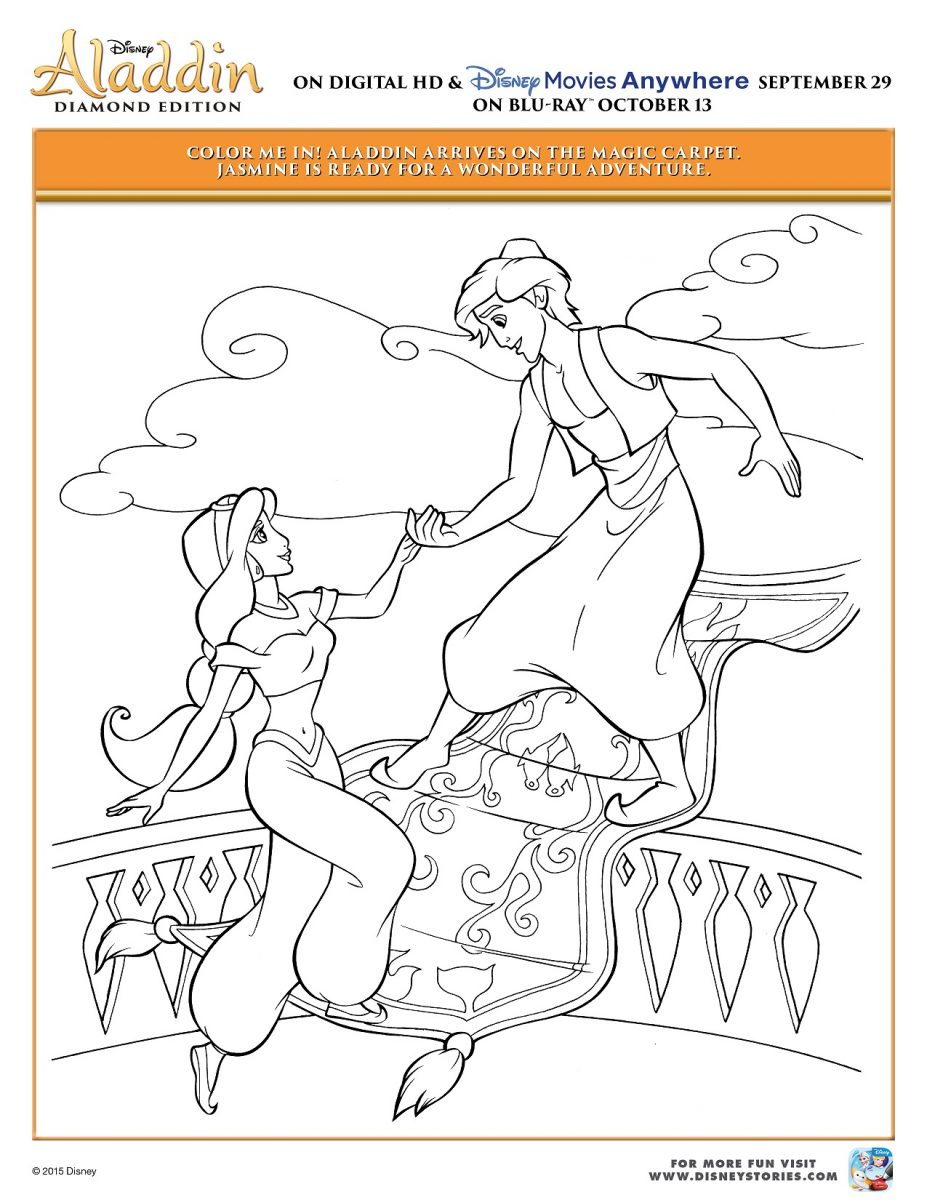 Disney\'s Aladdin & Princess Jasmine Printable Coloring Pages