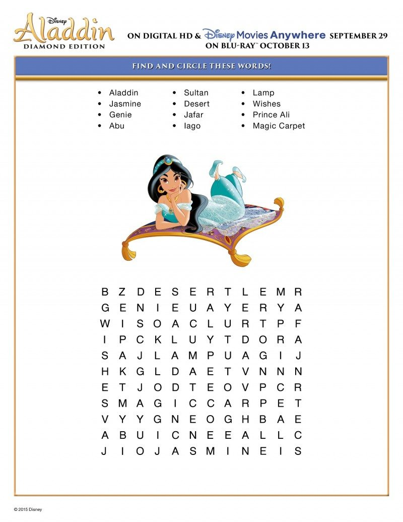 Free Printable Aladdin Activity Sheets Disney Aladdin Puzzle Find and Circle Word Puzzle Activity Sheet