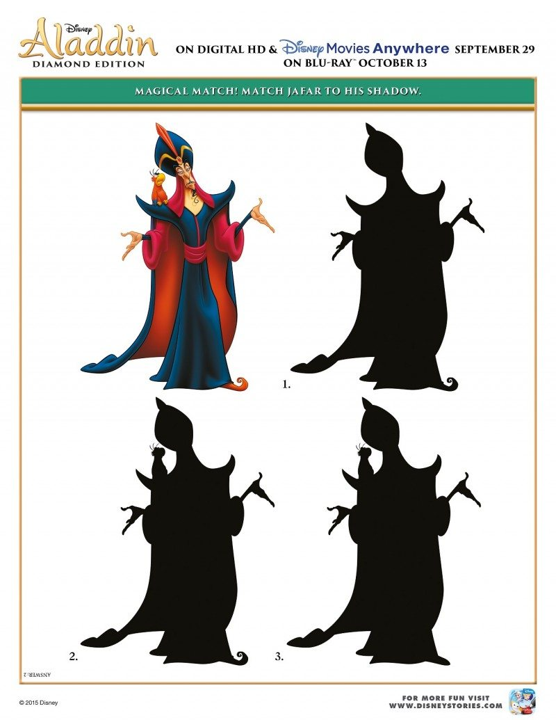 Free Printable Aladdin Activity Sheets Aladdin Match Jafar Activity Sheet