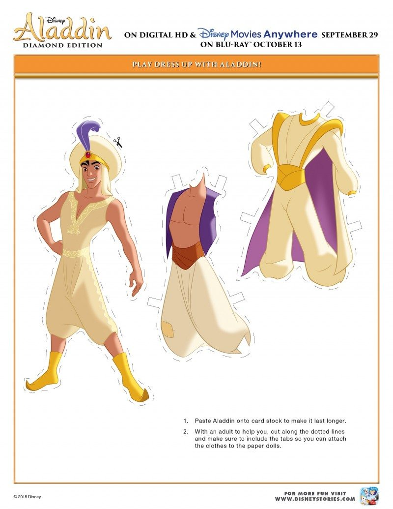 Free Printable Aladdin Activity Sheets Aladdin Paper Cut Out Dress Up Activity Sheet