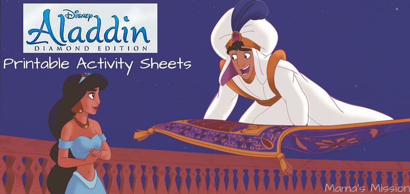 Celebrate the release of the Disney Aladdin Diamond Edition on Digital HD & Blu-ray DVD with these free printable Aladdin activity sheets!