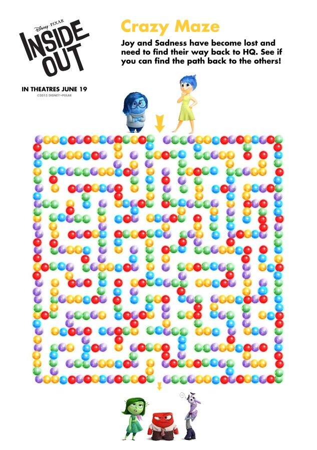 Check out these fun Inside Out activity and coloring pages. Join Joy, Sadness, Disgust, Fear and Anger on a fun Inside Out activity and coloring adventure! Inside Out Crazy Maze