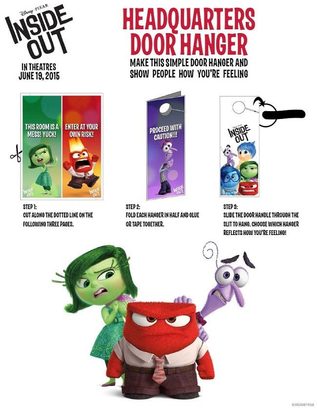 Check out these fun Inside Out crafts and games! Join Joy, Sadness, Disgust, Fear and Anger on a fun Inside Out crafts & games adventure for free time play. Inside Out Headquarters Door Hangers