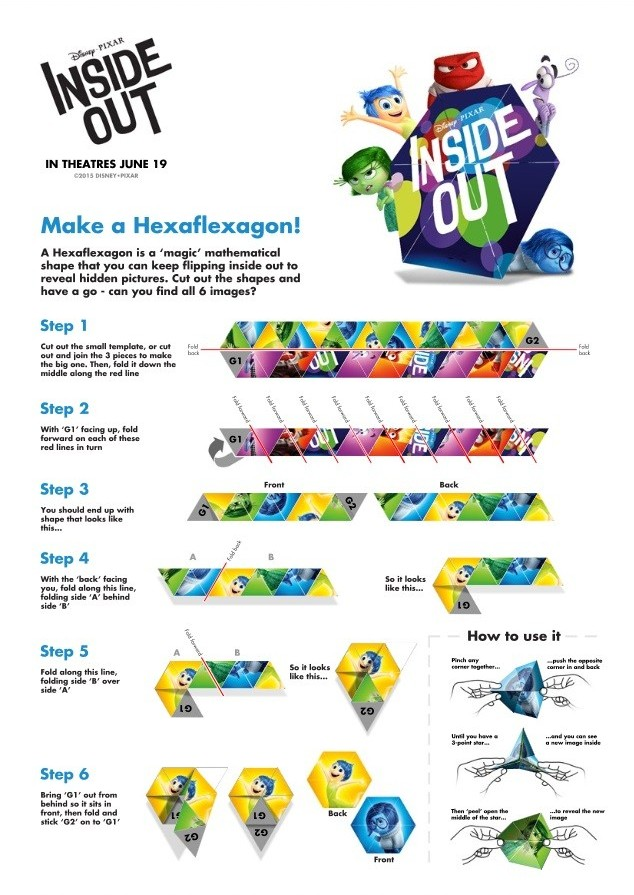 Check out these fun Inside Out crafts and games! Join Joy, Sadness, Disgust, Fear and Anger on a fun Inside Out crafts & games adventure for free time play. Inside Out Make a Hexaflexagon