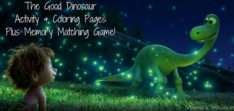 Check out these fun The Good Dinosaur activity and coloring pages. Join Arlo, Spot, Butch, Ramsey, and Nash on a fun filled dino-riffic dinosaur adventure! The Good Dinosaur Activity & Coloring Pages