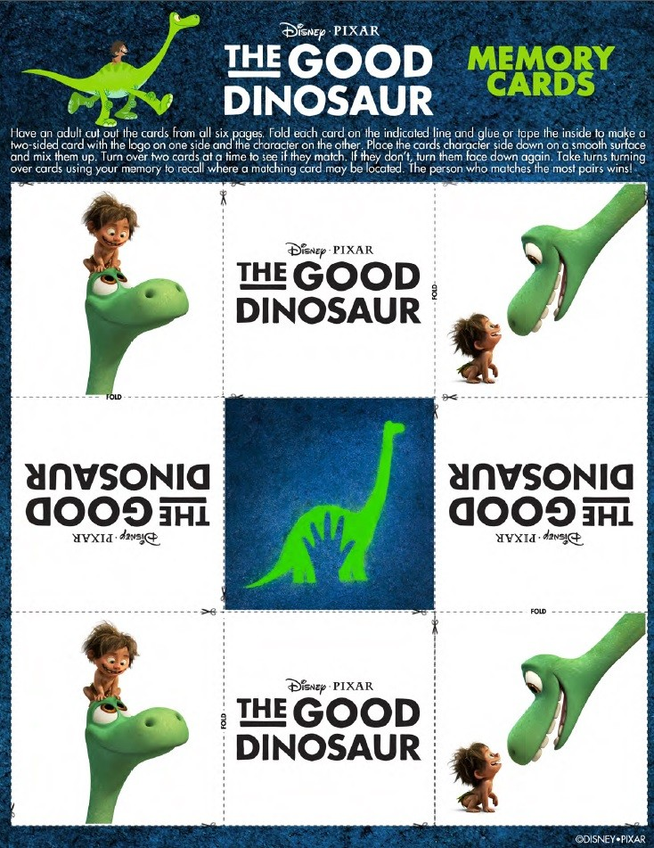 Check out these fun The Good Dinosaur activity and coloring pages. Join Arlo, Spot, Butch, Ramsey, and Nash on a fun filled dino-riffic dinosaur adventure! The Good Dinosaur Memory Cards