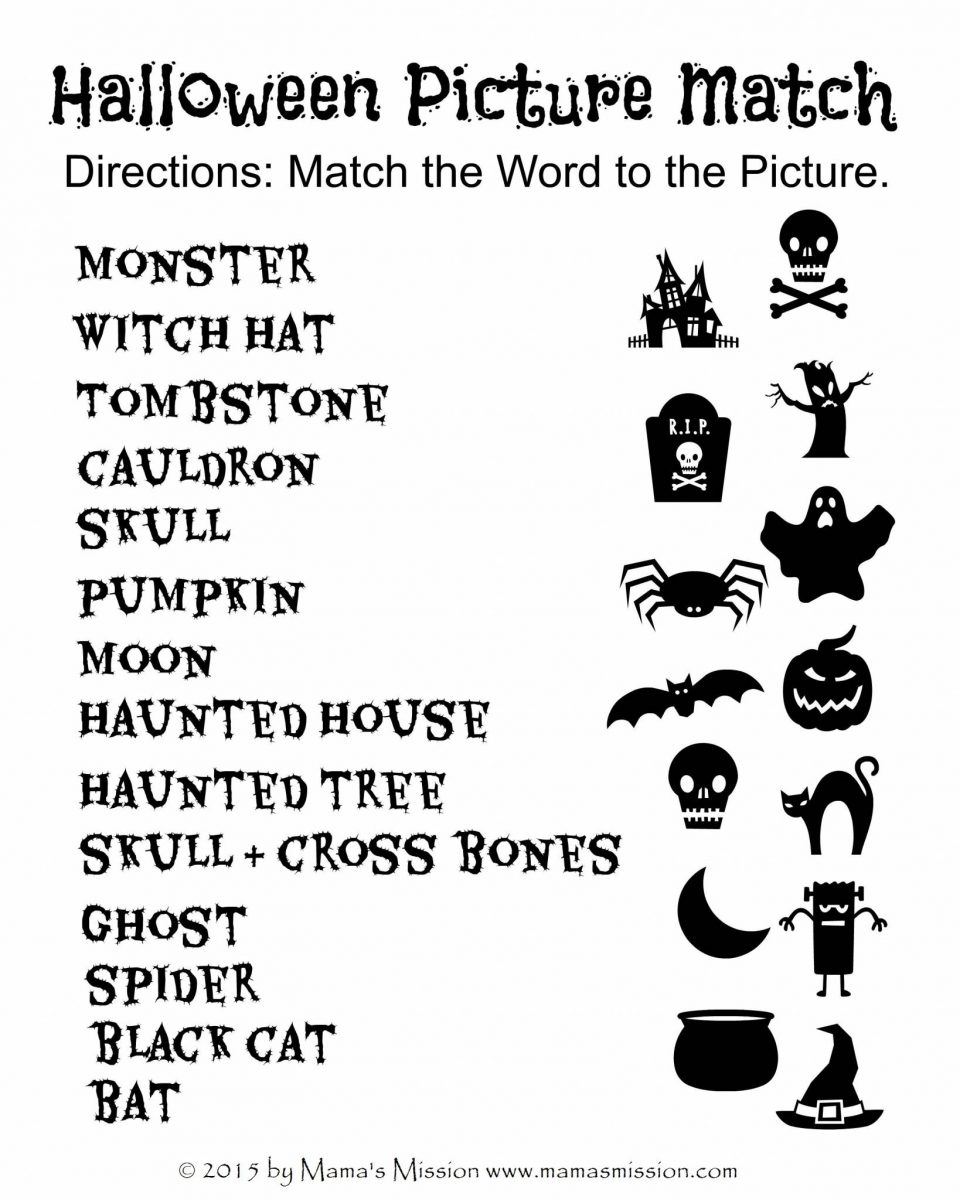 halloween picture match printable