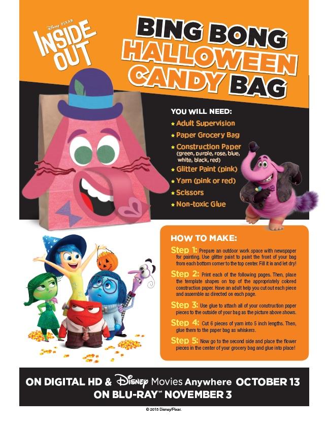 Inside Out DIY Halloween Candy Bag Bing Bong