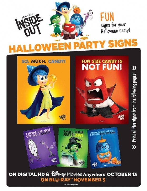 Inside Out DIY Halloween Party Signs