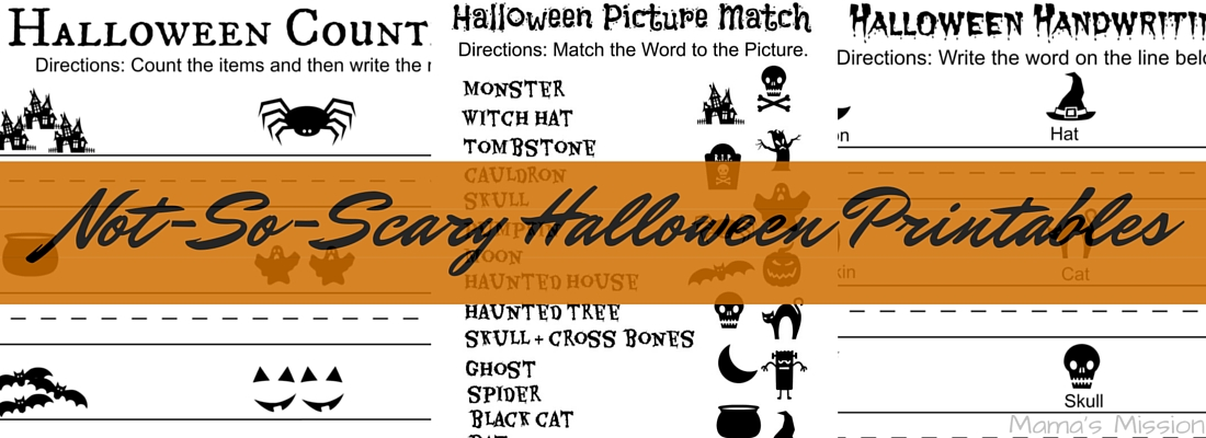 not so scary halloween printables