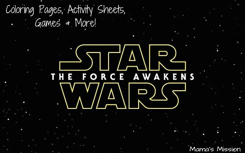 Star Wars Coloring Pages and Activity Pages for The Force Awakens Activity Pack