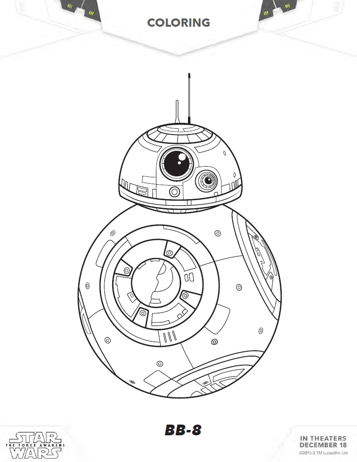 Star wars coloring pages activity sheets and more for Star wars bb8 coloring pages