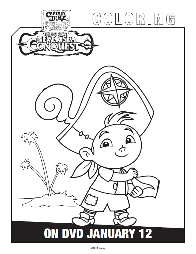 Free printable jake and the never land pirates coloring pages for Jake the pirate coloring pages