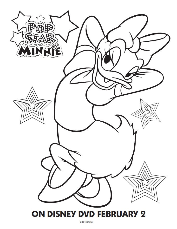 Pop Star Minnie Mouse Coloring Page Daisy Duck