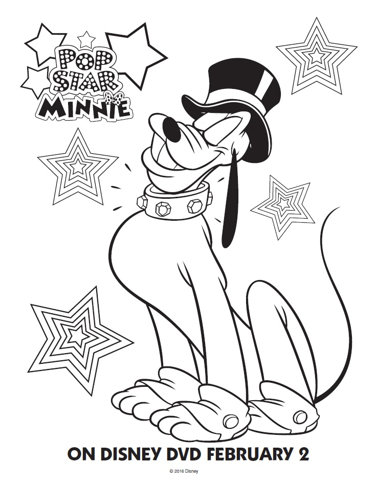 pop star minnie pluto coloring page