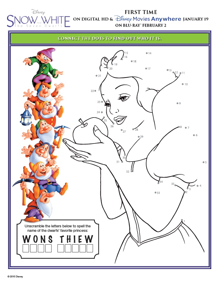 image regarding Snow White Printable identify Snow White and the 7 Dwarfs Printable Match Sheets!