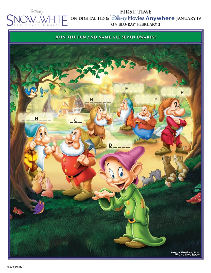snow white and the seven dwarfs activity sheets name all seven dwarfs