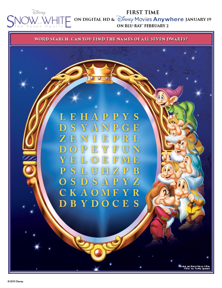 snow white and the seven dwarfs activity sheets word search