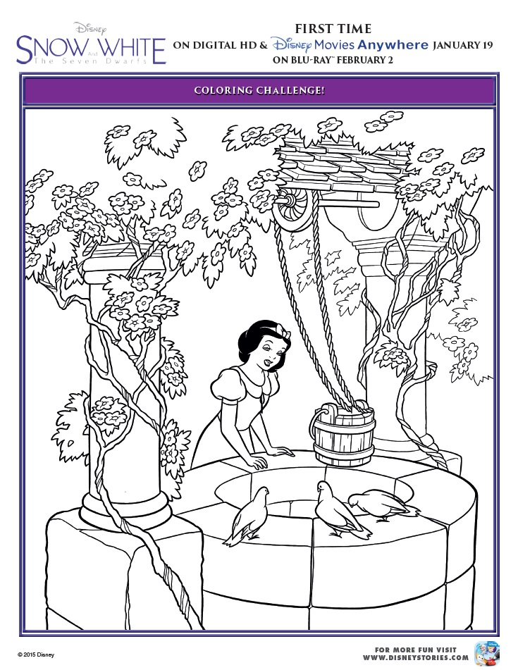 Snow Hite And The Seven Dwarfs Coloring Pages