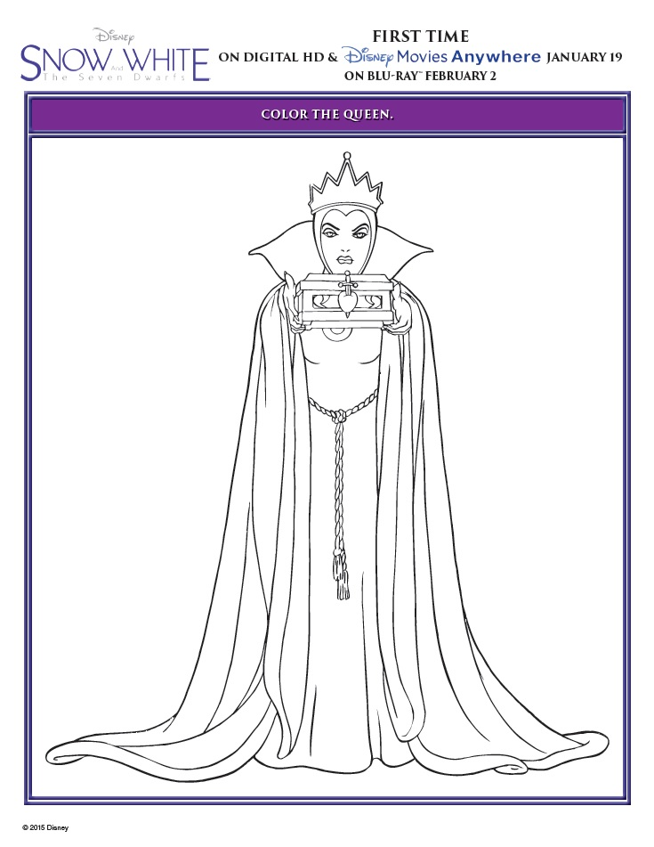 snow white and the seven dwarfs queen snow white and the seven dwarfs coloring page