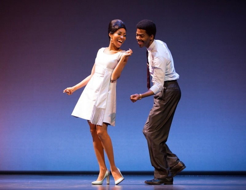Allison Semmes as Diana Ross, Julius Thomas III as Berry Gordy. MOTOWN THE MUSICAL First National Tour. (C) Joan Marcus, 2015