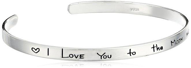 I Love You To The Moon and Back Bracelet Cuff Last Minute Valentines Day Gifts