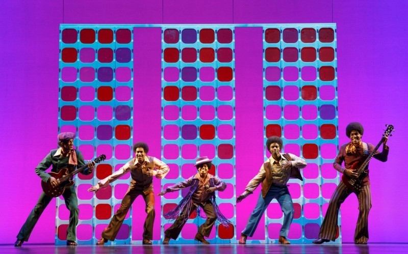 Photo 3 Reed L Shannon as Michael Jackson (center) with the Jackson 5 MOTOWN THE MUSICAL First Nat Tour Joan Marcus, 2014