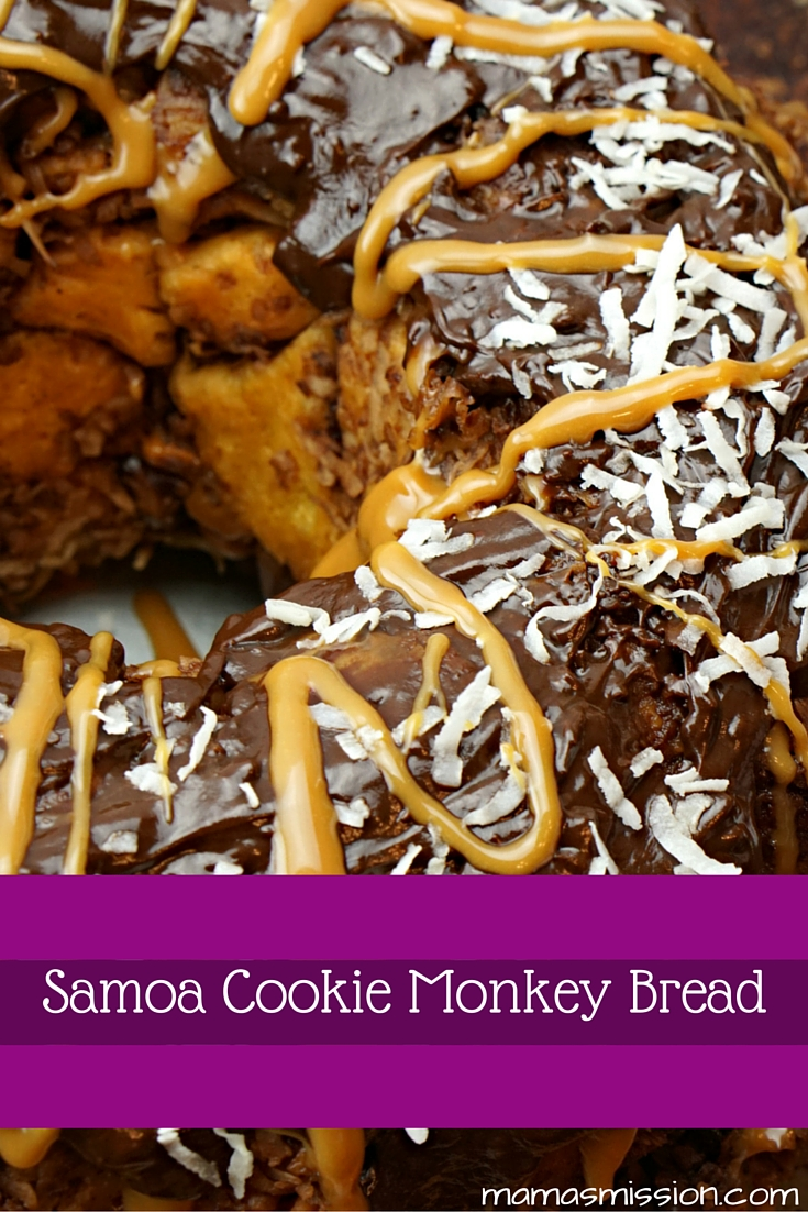 It's Girl Scout Cookie season! Love Samoas? Then you'll definitely want to try this heavenly Samoa Cookie Monkey Bread recipe out!