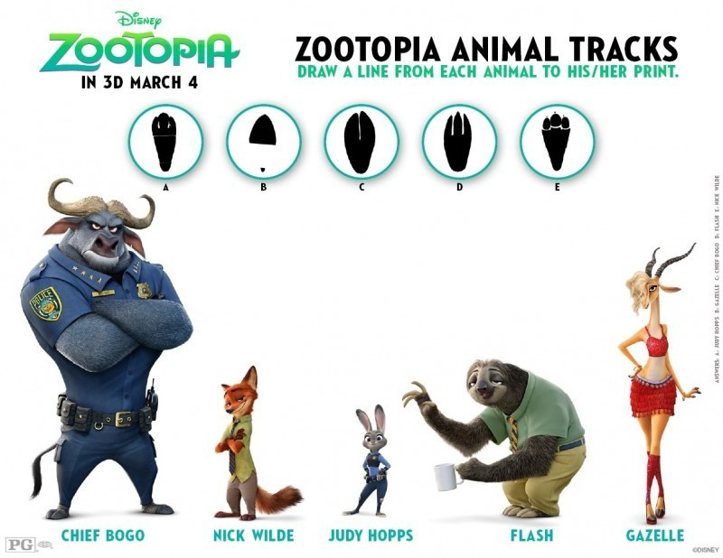 Zootopia Activity Sheets Animal Tracks Matching Game