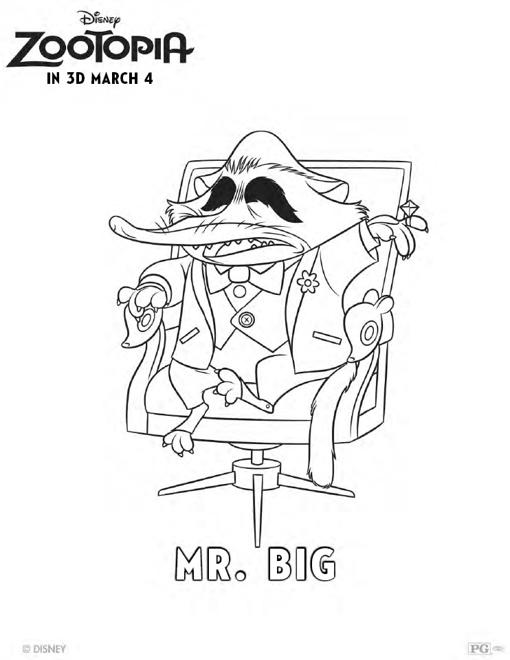 Zootopia Coloring Pages Mr. Big