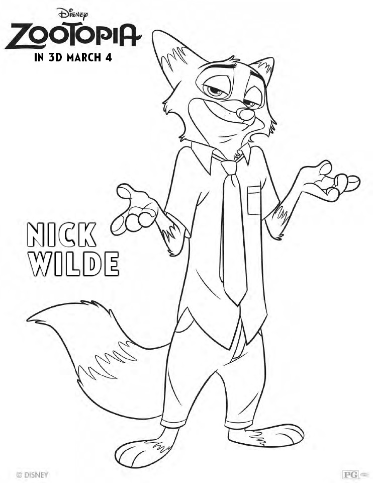 Zootopia Coloring Pages Nick Wilde