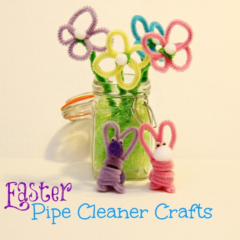 Easter Crafts Pipe Cleaner Flowers and Bunnies
