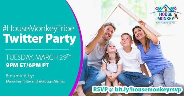 The House Monkey app is being released and we are ready to celebrate as a tribe with a House Monkey Twitter Party on 3/29/16 at 9pm E - must RSVP to win!
