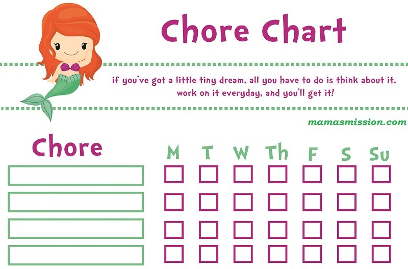 Little Mermaid Girl Printable Chore Chart