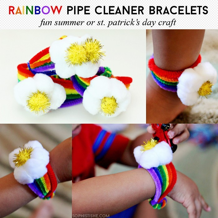 Rainbow Pipe Cleaner Bracelets