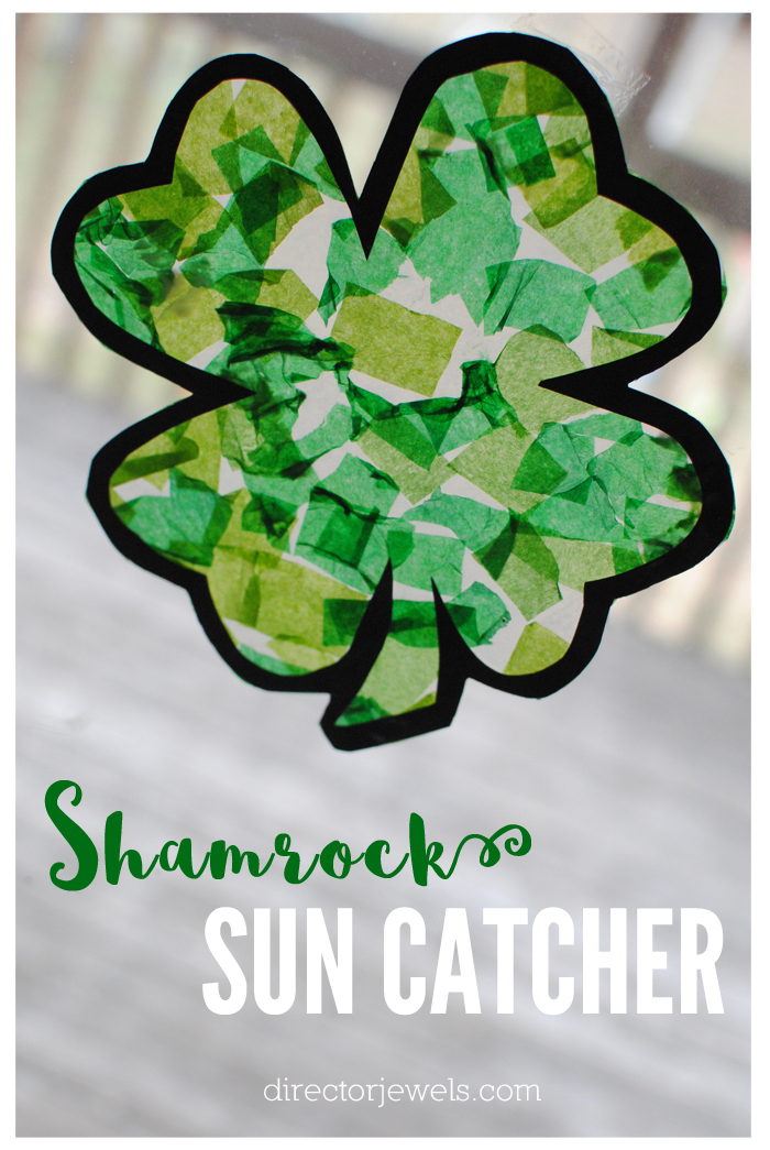 Shamrock Sun Catcher St. Patrick's Day Craft with Free Printable