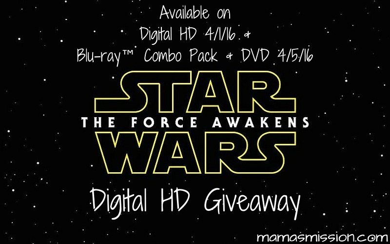 It's almost here and coming to a TV near you. Enter to win the Star Wars The Force Awakens Giveaway on Digital HD to watch for your next movie night!