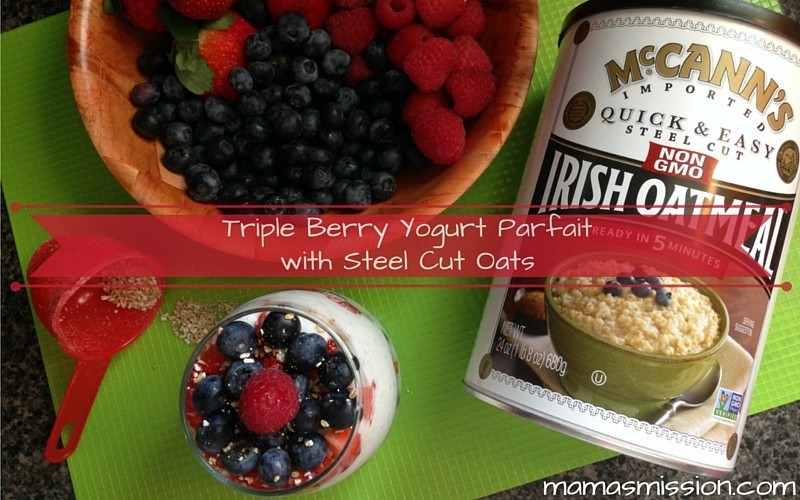 This Triple Berry Yogurt Parfait with Steel Cut Oats Recipe is easy to make, and tastes delicious! Parfaits with a twist of crunchy, nutty Steel Cut Oats.
