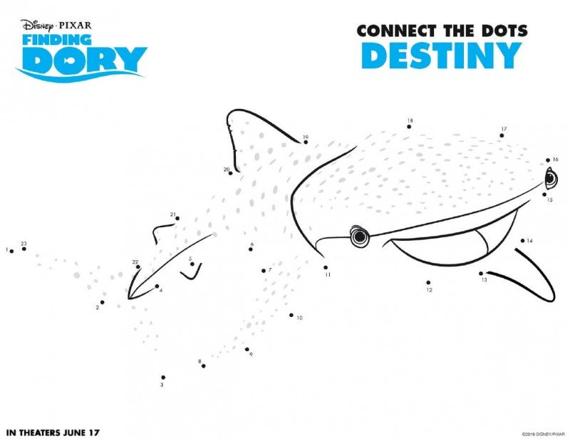 Finding Dory Printable Activity Pages are now available to download and print for free! Get your Finding Dory printable activity pages here. Finding Dory Connect the Dots Destiny