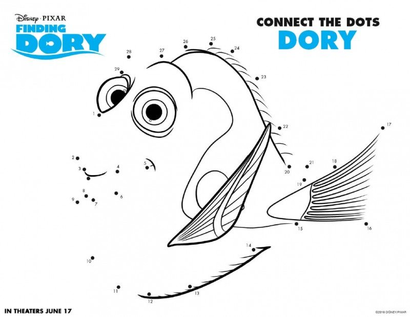 Finding Dory Printable Activity Pages are now available to download and print for free! Get your Finding Dory printable activity pages here. Finding Dory Connect the Dots Dory