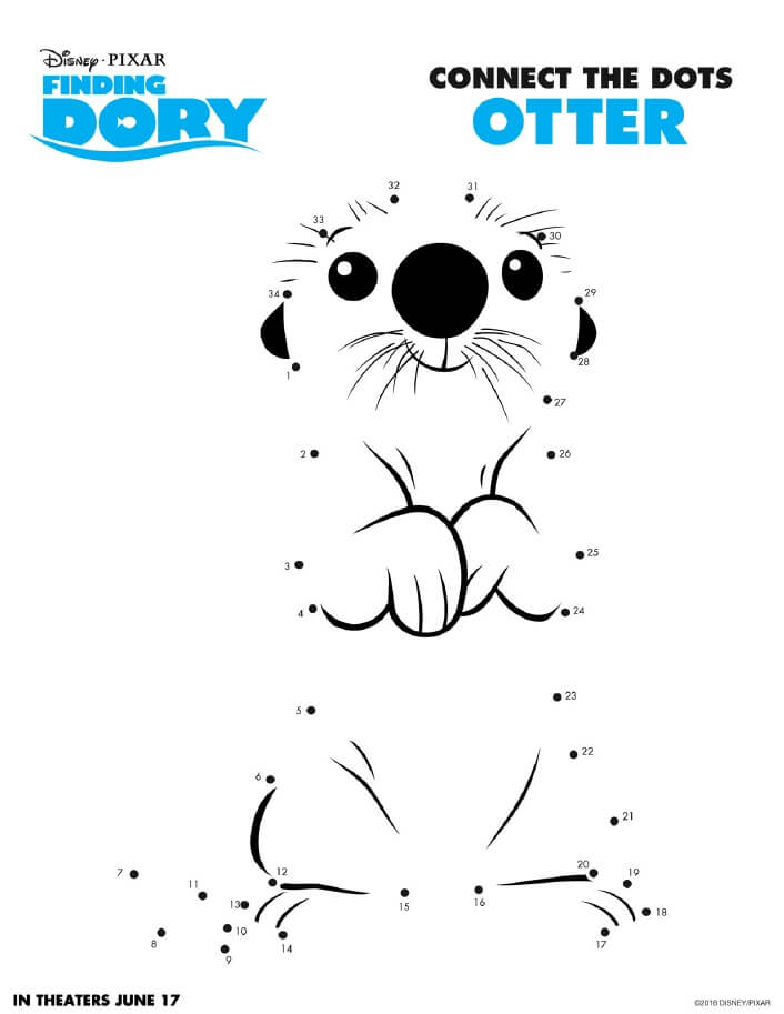 Finding Dory Printable Activity Pages are now available to download and print for free! Get your Finding Dory printable activity pages here. Finding Dory Connect the Dots Otter