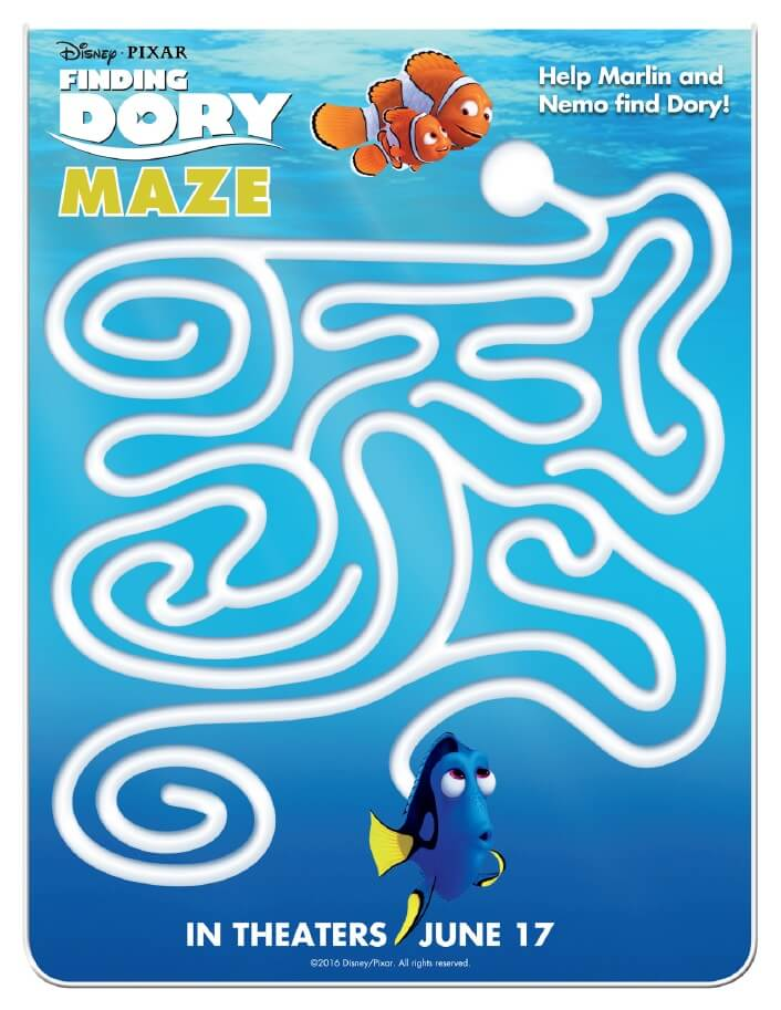Finding Dory Printable Activity Pages are now available to download and print for free! Get your Finding Dory printable activity pages here. Finding Dory Maze