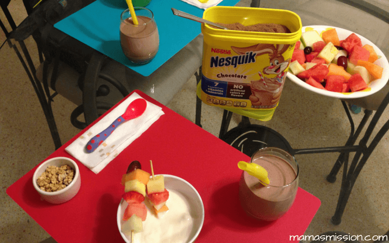 Create a kid friendly breakfast idea that stirs imagination! Check out this healthy and easy to make Fruit Kebabs and Yogurt with Granola breakfast option.
